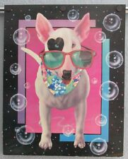 Vintage 1980'S Bull Terrier Dog Poster Heart Shaped Eye Sunglasses Pop Art Spuds