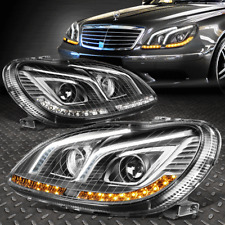 FOR 2000-2006 MERCEDES W220 S-CLASS/AMG BLACK PROJECTOR HEADLIGHT LED DRL+SIGNAL