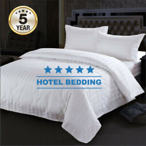 Single/Double/Queen/King Size-Hotel Quality WHITE STRIPE Quilt Cover Set-165 GSM