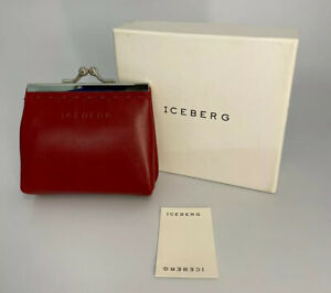 Iceberg Small Red Leather Snap Clip Coin Purse - Borsellino - Comes in Box
