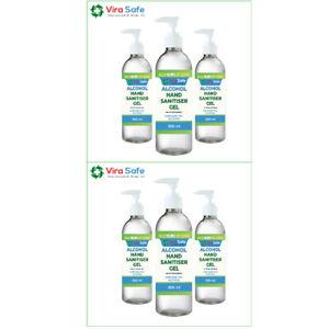 6 x Hand Sanitiser Gel Instant 500ml Kills 99.9% Bacteria anti viral 70% Alcohol