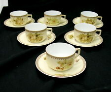 old ivory / german silesia teacup and saucer (6) sets #200 / all perfect 1915
