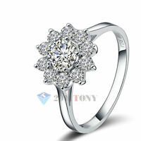 18K Rose Gold Plated Swarovski Crystal Women's Sunflower Wedding Ring Jewellery