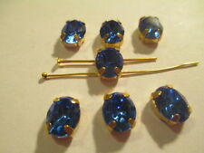 6 Swarovski Silver Plated Sapphire Blue Sow Ons 10x8 mm Rhinstones ART 4100