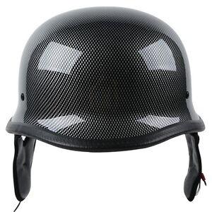 DOT Carbon Fiber WWII German Style Motorcycle Half Helmet M/L/XL For Cruiser ATV