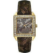 Guess U0050L2 Gold Tone Glamour Swarovski Crystal Bezel Python Print Watch Gift