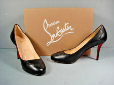 LOUBOUTIN 36.5 Marpelissimo 85 Black Leather Twisted Trim Round Toe Pumps NEW