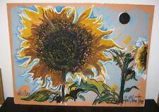 Paul Harris Drawing Sunflowers Homage Georgia O'Keeffe Impressionist Listed 1985