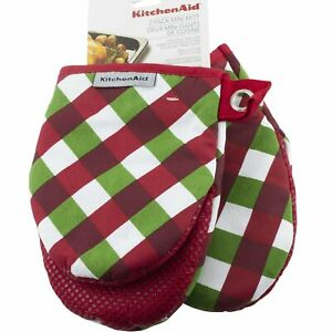 Kitchenaid 2 Pack Mini Oven Mitt Christmas Red Green Check Plaid Silicone Grip
