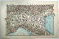 Northern Italy: Original 1899 Map by Velhagen & Klasing. Antique