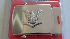 USN US NAVY PO3 RANK USS SHIP SHORE AIR CREW'S SILVER FINISH WORKING BELT BUCKLE