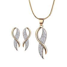 Silk Scarf 18K Silver & Gold Filled Swarovski Crystal Lady Earrings Necklace SET