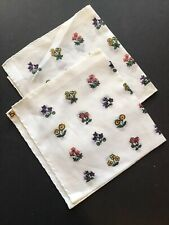 2 Vintage Doerig Switzerland Handkerchiefs Matching Printed Flowers