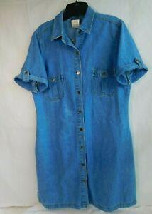 Vtg Route 66 Women Denim Blue Jean Button Up Blue Modest Dress Pockets Size L