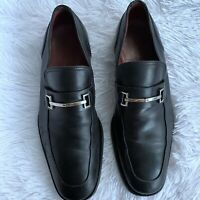 Men's Gucci Silver Horsebit Classic Black Leather Lug Loafers Size US 9.5