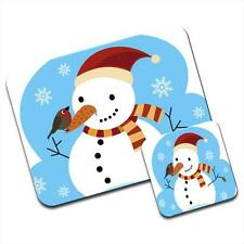 Christmas Snowman With Robin Sat On Nose Mouse Mat / Pad & Coaster
