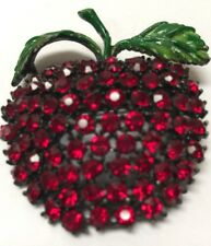 Vintage Weiss 1950s Apple Pin Red Stones & Enamel (C106)