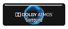 """Dolby Atmos Surrond 2.75""""x1"""" Chrome Effect Domed Case Badge / Sticker Logo"""