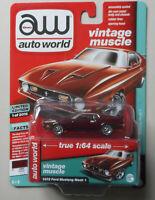 1972 Maroon Black Stripes Ford Mustang Mach 1 AUTO WORLD DIE-CAST 1:64 CAR