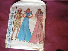 Vintage McCalls Pattern 4481 Miss Dress 1975 Sz 12 Bt 34 Boho Peasant Middi Maxi