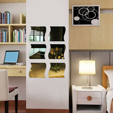 6Pcs DIY Miroir Sticker Autocollant Mural Figure Vague Salon Chambre Mur Décor