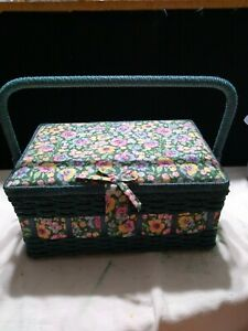 """Vintage?  Wicker Sewing Craft Basket Yellow,Pink, Blue  Floral Top 11 X 8x4"""" VGC"""
