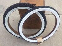 """Schwinn Stingray 20"""" S7 & S2 Knobby Whitewall Tires Kenda Duro Super Deluxe"""