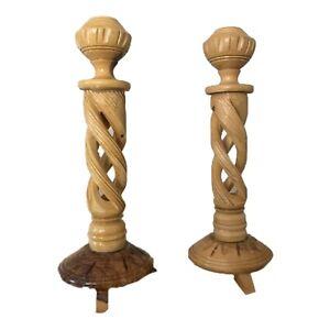 "Hand Carved Whalen Woods Wooden Spiral Twist Candlesticks 8.5""  (Set of 2)"