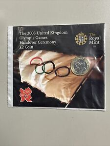 2008 OLYMPIC GAMES HANDOVER £2 TWO POUND BU COIN ROYAL MINT SEALED PACK