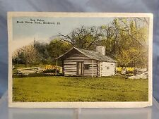 Vintage Rockford Illinois IL Postcard Picture of  Log Cabin Black Hawk Park