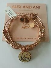 Alex and Ani LOVE Set of 3 Rose Gold Bangles Bracelets BOX NWT *Limited Edition*