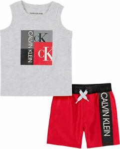 Calvin Klein Boys Gray & Red 2pc Board Short Set Size 2T 3T 4T 4 5 6 7