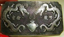 Chinese Tibetan Silver Double Dragons Chasing Fire Ball Bullion Amulet Pendant