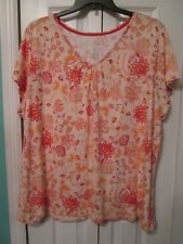 WOMEN/'S PLUS 3X ST JOHN/'S BAY COTTON BLEND $27 CORAL FLORAL