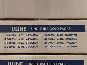 NEW 48 Pack ULINE 6oz. Freeze Cold Packs S-18966 Colder than Ice Gel Refrigerant