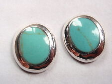 Blue Green Turquoise Oval 925 Sterling Silver Stud Earrings Corona Sun Jewelry