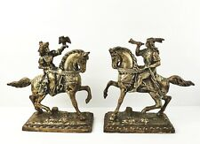 Silver Plate Book Ends Men on Horses Native American Man Hunter Bird Horn Ornate