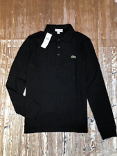 Lacoste Mens Black Long Sleeve Polo Shirt - Size 4 / Medium