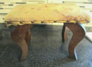 Antique Victorian Wood Foot Bench Stool Floral  Fabric Cushion  tiger oak