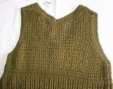 Next Crochet V neck Top & Cami Vest Set khaki green Size 12 Brand New Tags BNWT