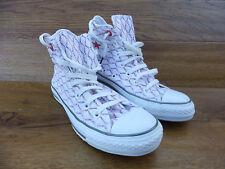 Adulti Converse All Star in Pelle Bianco Taglio Laser scarpe da ginnastica in buonissima condizione Taglia UK 6/39