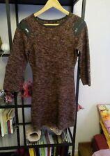 Robe Maje en laine chinée grise et rouge