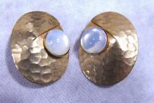 Vintage Mid Century Blue Opal Glass Hammered Gold Tone Clip Earrings