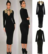Sz 8 10 Black Long Sleeve Sequin Formal Prom Cocktail Party Slim Fit Midi Dress