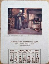 Sheldon, IL 1916 Advertising Calendar: Bishopp Hominy Co. - Coal/Grain/Meal/Feed