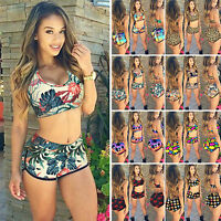 Women's Leopard Sport Tankini Set Boy Shorts Swimwear Swimsuit Bikini Beachwear
