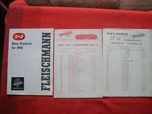 3 Rare Vintage FLEISCHMANN Model Railway Catalogues Leaflets Price Guides C1966