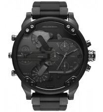 NEW DIESEL Mr. Daddy 2.0 Black Dial Silicone Metal Band Chrono Mens Watch DZ7396