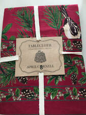 "April Cornell Christmas Tablecloth 70"" Round Pine Cones Birds Berries 100% Cotto"