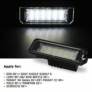 AUXITO 2X CANbus LED License Plate Lights For VW GTi Golf CC Rabbit, Porsche